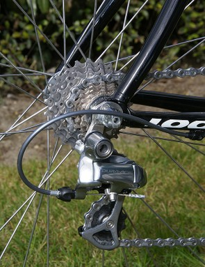 A standard Dura-Ace rear derailleur moves the chain across the tight ratio cassette.