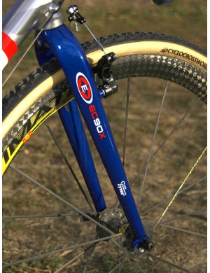 The lightweight Easton EC90X fork is painted to match Johnson's red, white and blue color scheme