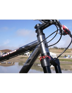The upsized head tube is fitted with an FSA internal cup-style headset.