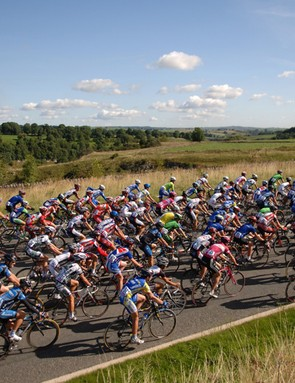 The bunch in the Tour of Britain