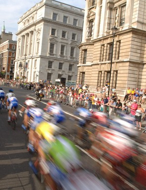 The Tour of Britain pack races down Whitehall in 2005