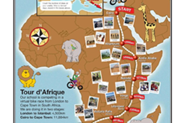 Youngsters are cycling a virtual race across Africa