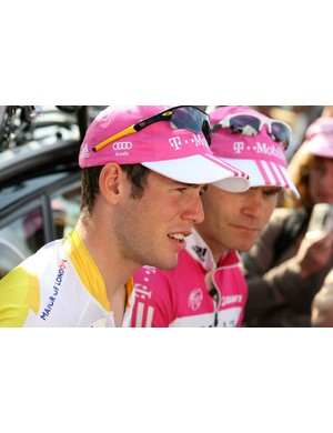Mark Cavendish (T-Mobile) talks to journalists at the start of stage two