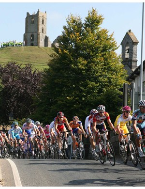 Cavendish safely in the bunch at Burrow Mump
