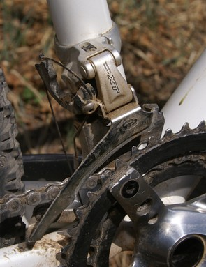 The Shimano XT front derailleur only has to shift across two chainrings.