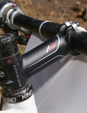 The Bontrager Race X Lite stem may not have the sex appeal of carbon models but is still lighter than most of them.