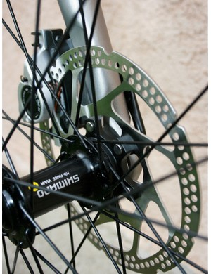 Shimano disc brakes are quiet and effective.