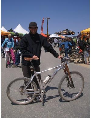 Trek product development honch Travis Brown was pedaling around Sea Otter on this prototype 69er