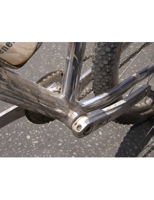 Brown's one-off polished 69er also sported a Shimano 90mm press-fit bottom bracket.