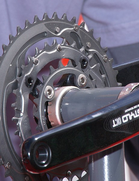 Chainrings are more heavily machined for lighter weight and supposedly improved shift performance.