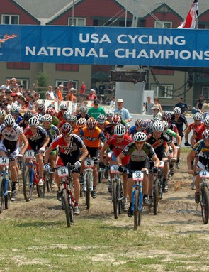 The pro men's cross country start off with a bang.