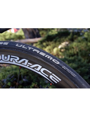 Schwalbe's Ultremo tubulars are carefully glued to the team's rims.