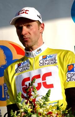 Cycling : Tour Méditerranéen / Stage 2 VOIGT Jens ( Ger ) Yellow Jersey Maillot Jaune Gele Trui / Podium / Celebration Joie Vreugde Stage 2 : Villeneuve Loubet ( Fra ) - Bormes ( Fra ) Tour Med / Ronde Middelandse Zee Etape / Rit
