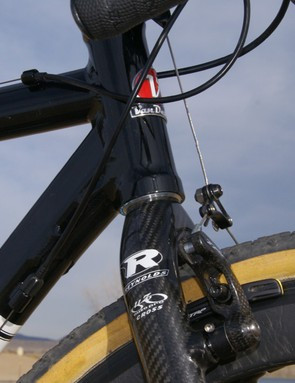 A neatly applied gusset helps reinforce the head tube area.