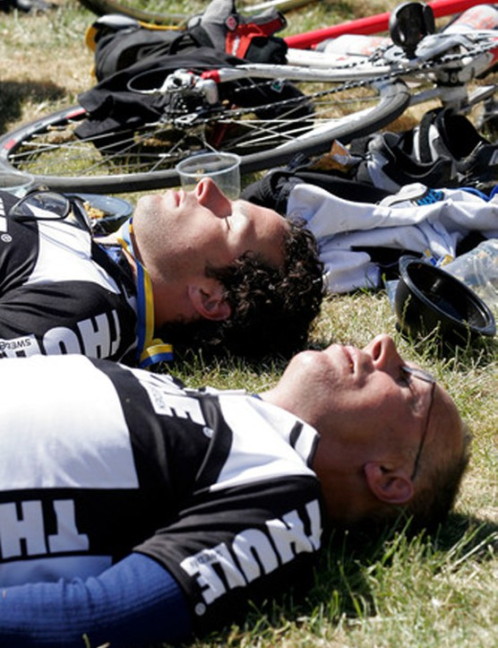 Tired riders after 300km