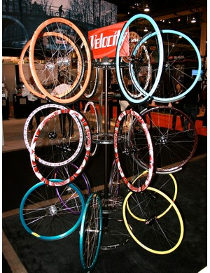 Ah, what a sight: a display tree of multi-coloured VeloCity Deep-V rims. Yummy.