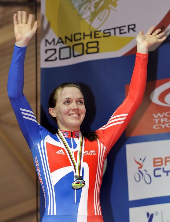 Victoria Pendelton celebrates at the world championships