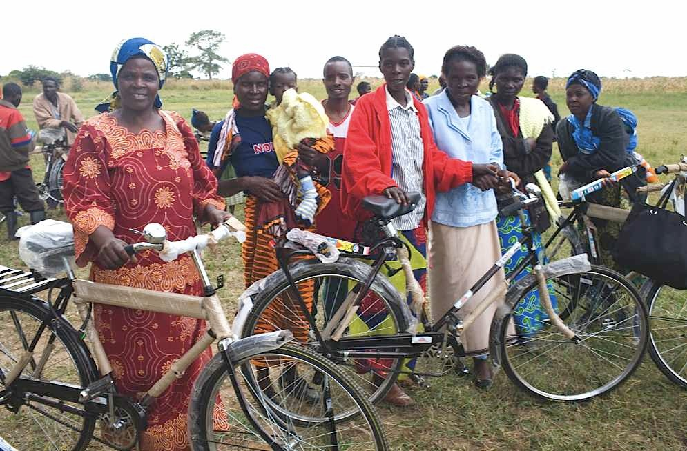Zambian caregivers with their new bicycles, courtesy of World Bicycle Relief.