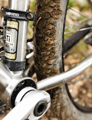 An eccentric bottom bracket allows for chain tension and BB adjustment