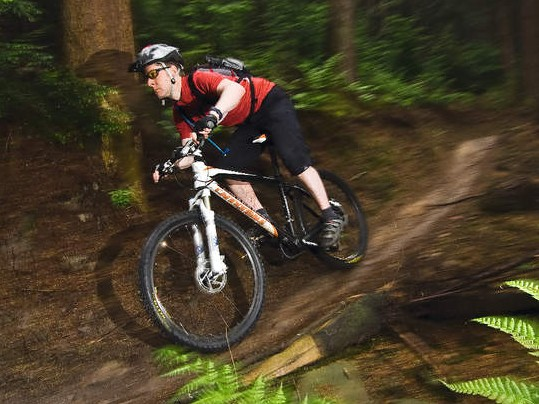 Ride position helps you attack the trails; bike feels surefooted  on the downhills, too