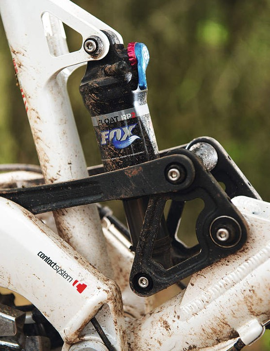 The shock linkage controls the monkey motion providing small-bump suppleness and big-hit handling