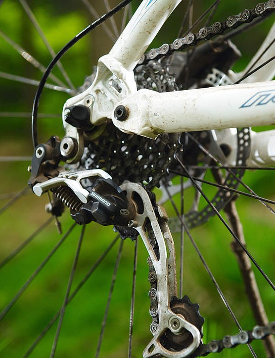 The Horst Link uses a pivot on the chainstay to produce a near vertical axle path