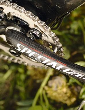 Liam's bike uses super-stiff carbon road cranks