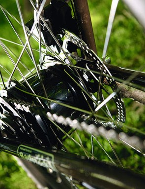 Alfine hub gear is quiet and efficient; we rarely found the need for extra gears