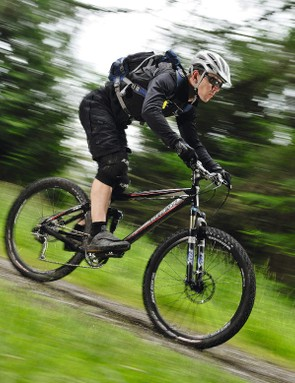Your weight must be centred over the bike to keep you stable on the downs