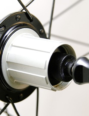 The alloy freehub body is easily swapped between Shimano/SRAM and Campagnolo.