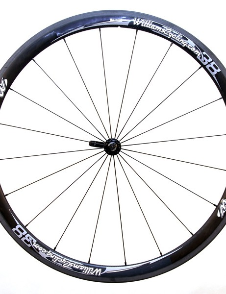 The front wheel is radially laced…
