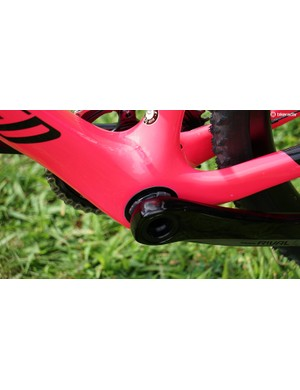 A low and beefy bottom bracket for the Crux translates to great cornering and maximum acceleration