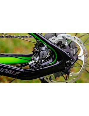 Shimano's previously road-oriented flat-mount brake system features on the Scalpel