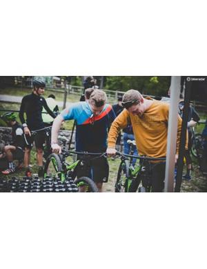 BikeRadar's Tom Marvin (right) calls for his Scalpel