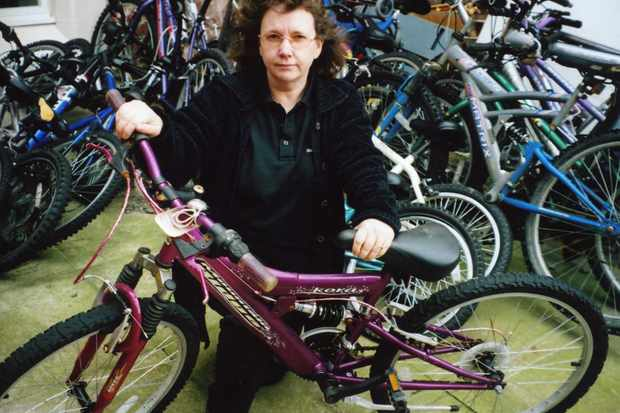 Police property officer Bev Johnston with the abandoned bikes