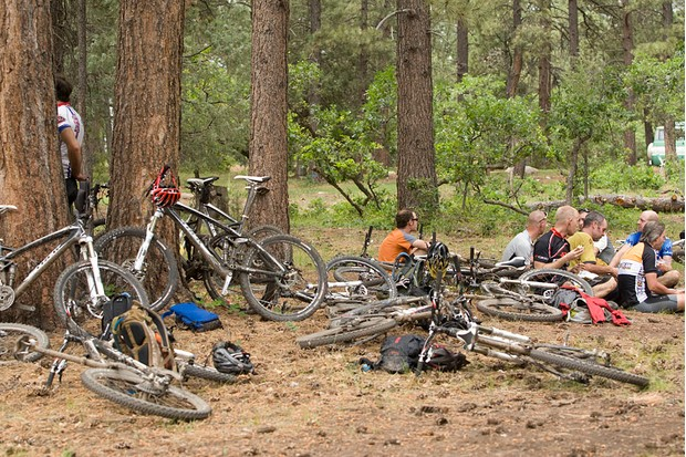 Post-ride chaos at the end of Hermosa Creek Trail