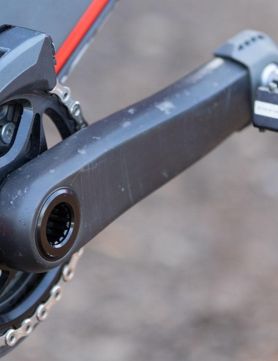 Strangely missing any branding, these are clearly e*thirteen carbon cranks. We suspect they're the LG1r model