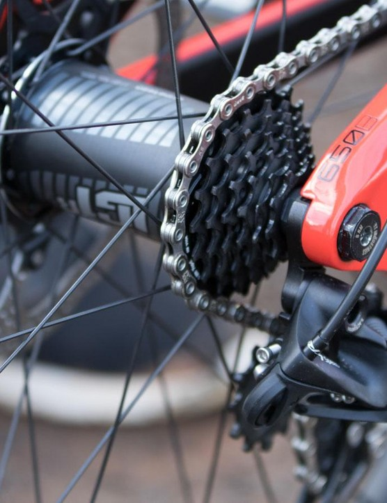 Does this cassette look tiny? That's because it is. Gwin is using e*thirteen's new race-specific 9-21t 7-speed cassette and matched rear hub