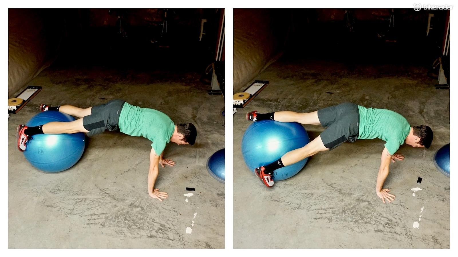 Prone rotations over a ball activate every abdominal muscle group — increasing speed can generate an eccentric contraction too (in addition to the concentric and isometric contractions present)