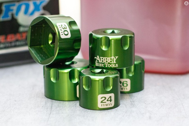 The Abbey Bike Tools suspension top cap sockets are sold in a set of five including 24, 26, 28, 30 and 32mm