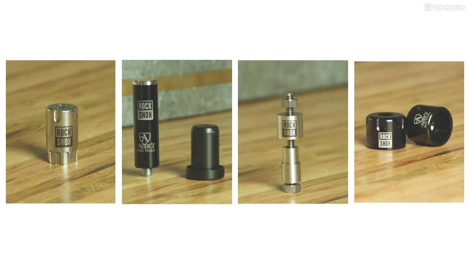 From left: SUS top cap tool, flangeless dust seal tool, bushing tool, and 24mm and 30mm sockets
