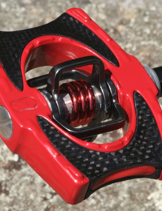 Crank Brothers Acid (2) pedals. Did we mention they're very RED!