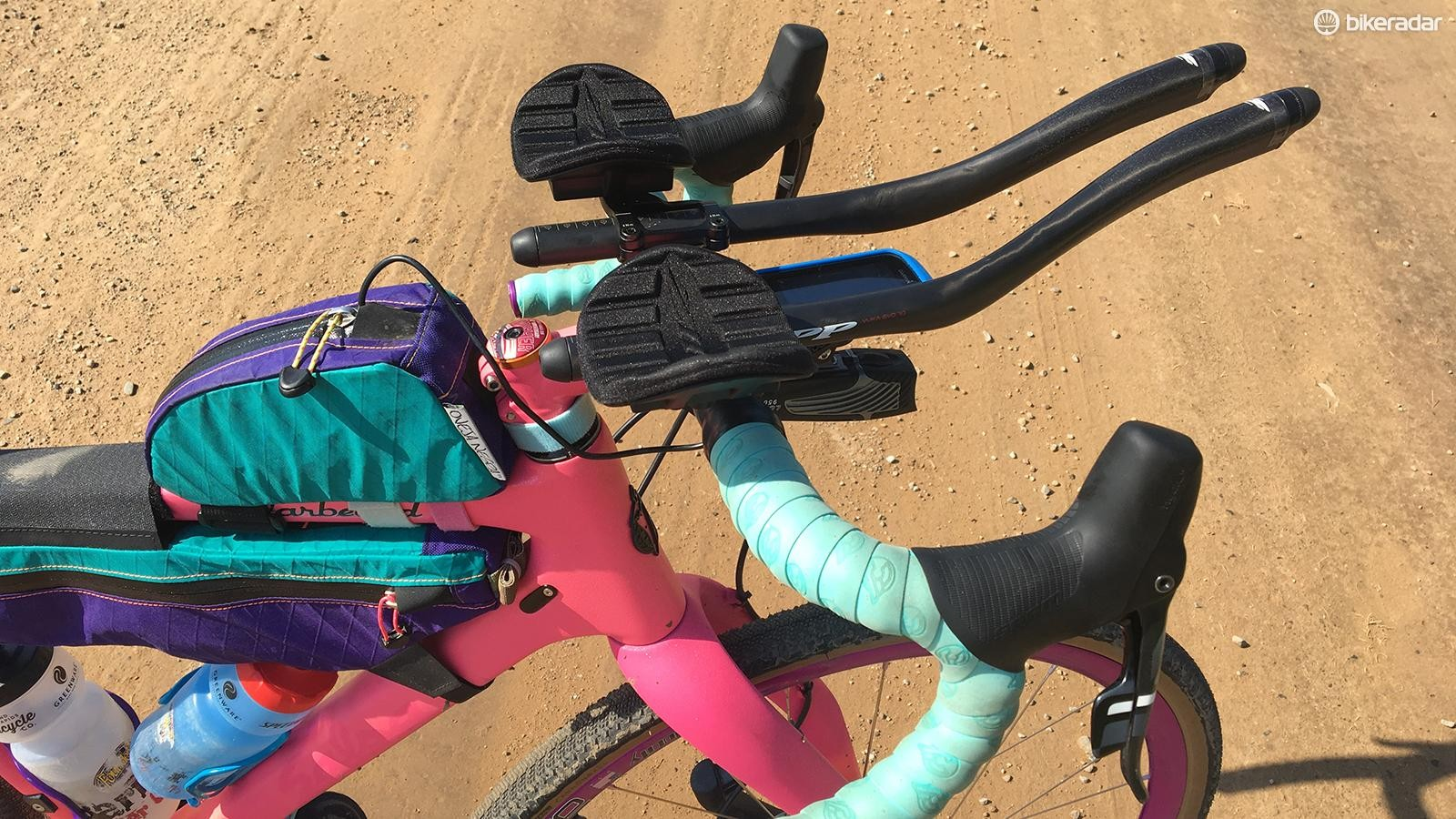 Clip-on aero bars allowed to grind out all 350 miles of the XL course
