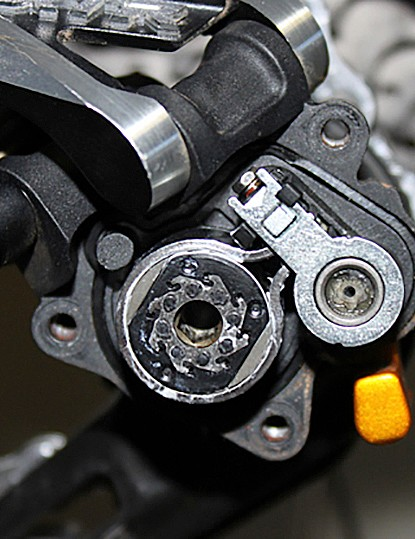 The guts of an XTR Shadow Plus rear derialleur, note the removeable clutch adjustment wrench