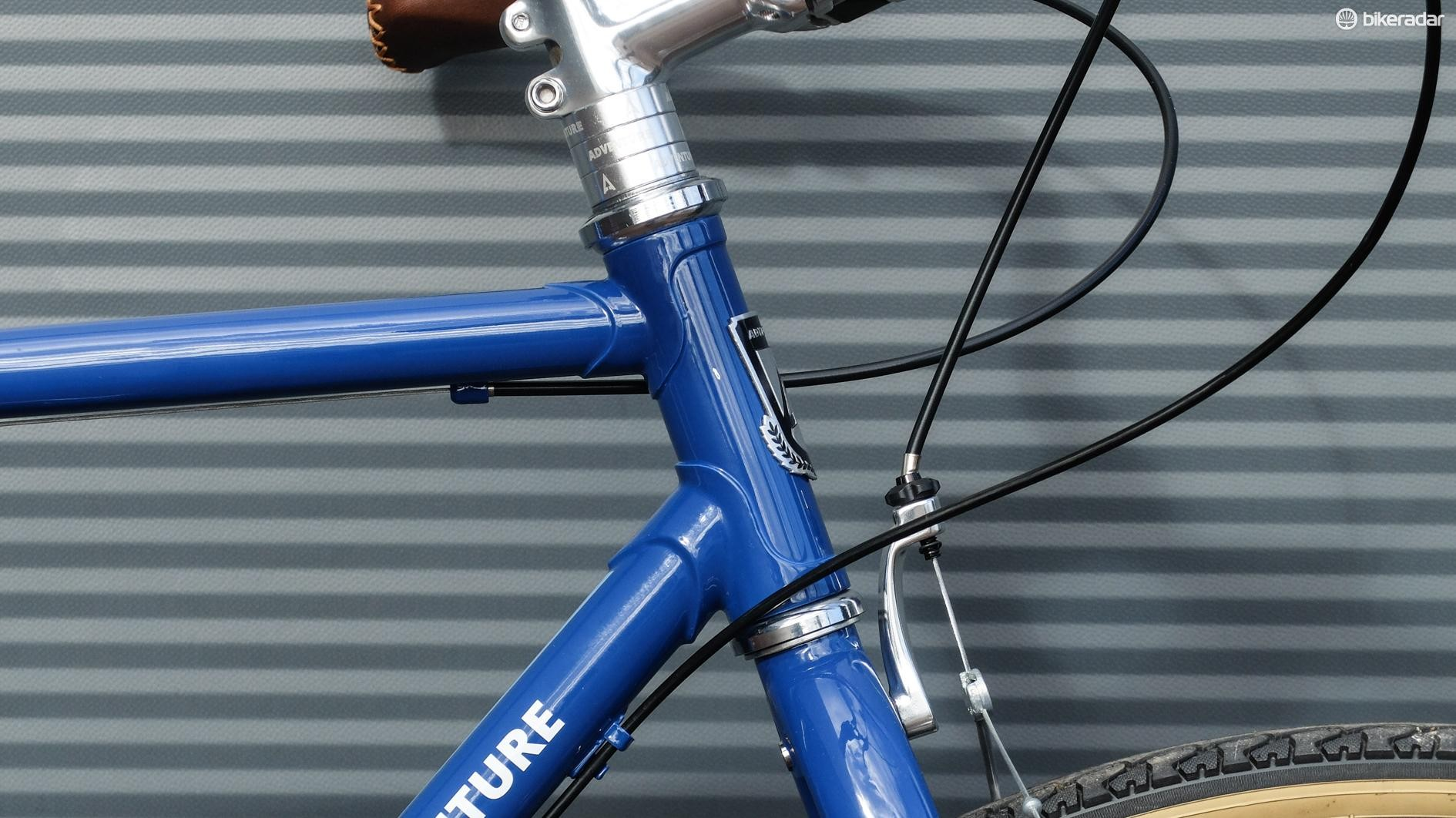 The lugged head tube is rather lovely