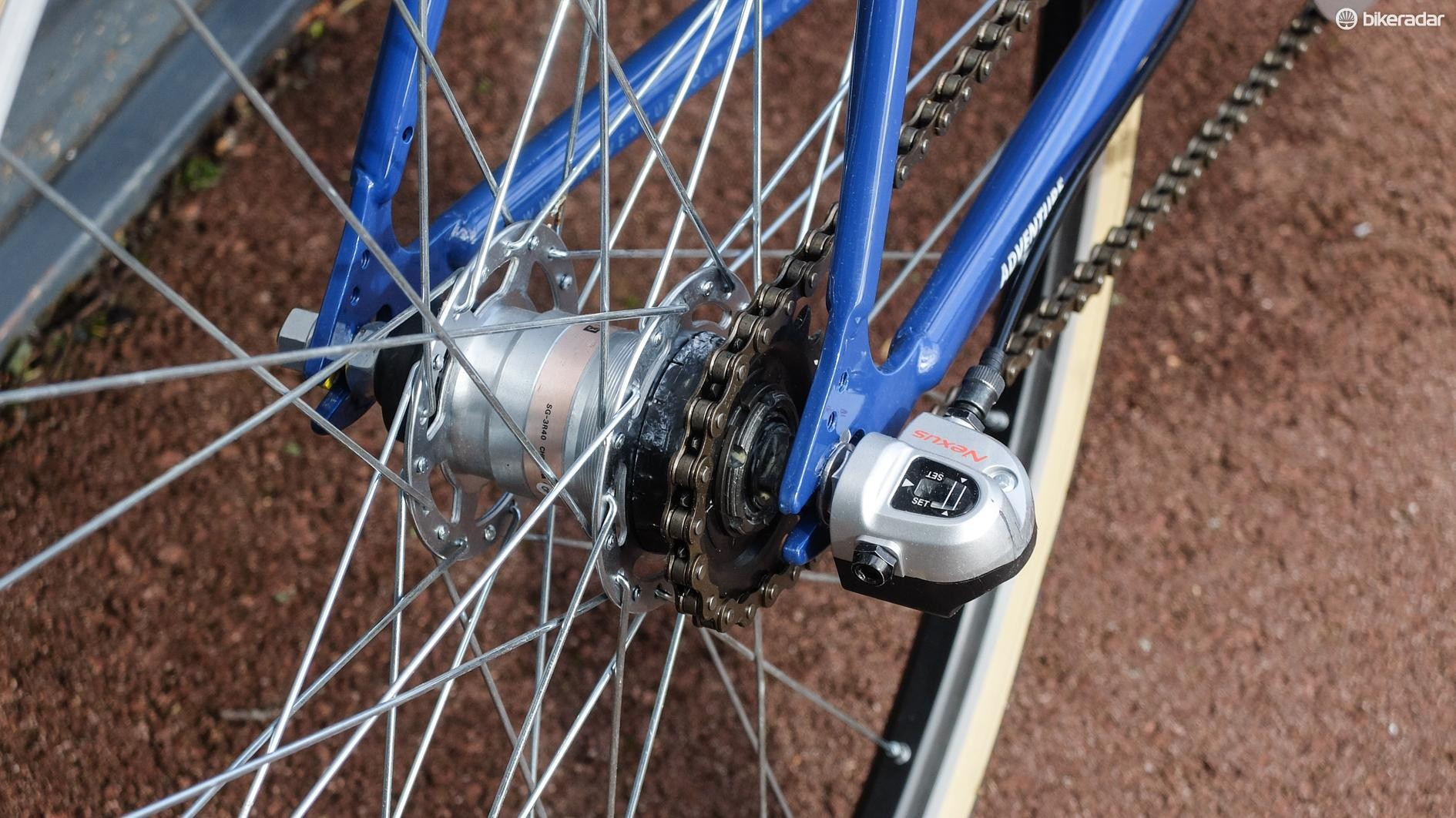 The bike is built around a three-speed Nexus hub