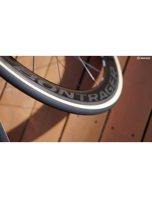 The laser treatment for the brake track is also used for the Bontrager logo