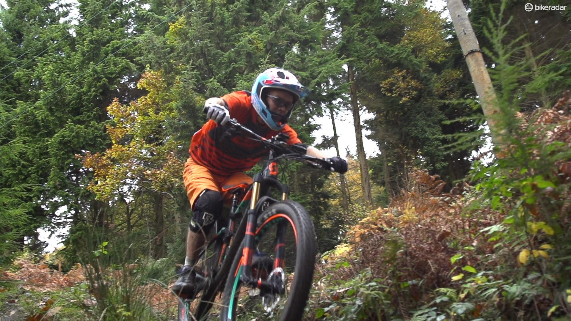 I picked a descent that wouldn't be out of place in an enduro race, with plenty of technical features and drops