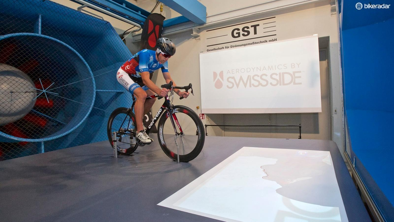 Swiss Side aerodynamics team leader Christian Kleiner tested helmets for BikeRadar at the GST wind tunnel in Germany