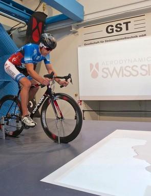 Swiss Side aerodynamics team leader Christian Kleiner tested helmets for BikeRadar at the GST wind tunnel in Germany